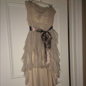Dresses & Skirts - Nude glittery high low strapless dress