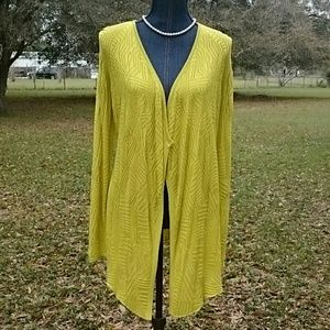 Chartreuse Textured Knit Cardigan