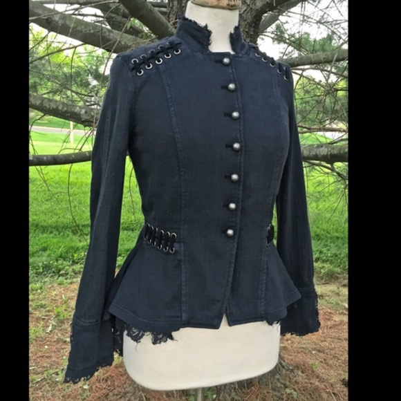 Free People Jackets & Coats - Free People blue Victorian Lace Up Jacket NWOT S