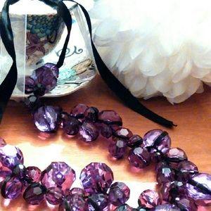 Purple Lucite Ball Necklace