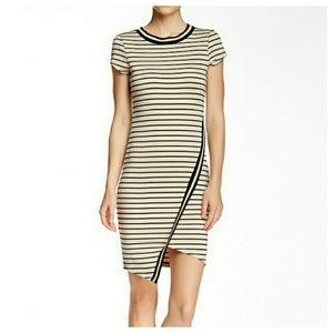 BLVD Dresses & Skirts - Wrap Front Striped Asymmetrical Dress