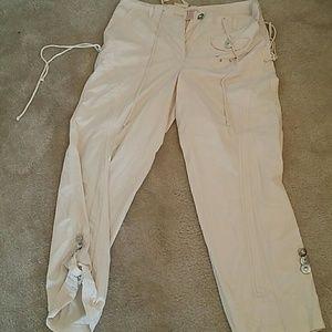 Pinky Pants - Pinky cream cargo pants with embellishments