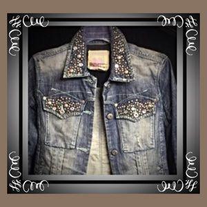 """Parasuco  Denim - Embellished """"rockstud"""" denim jacket"""