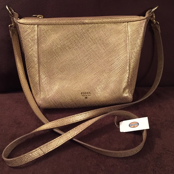 FOSSIL Sydney Crossbody Bag in Metallic Gold 4210d261c6f39