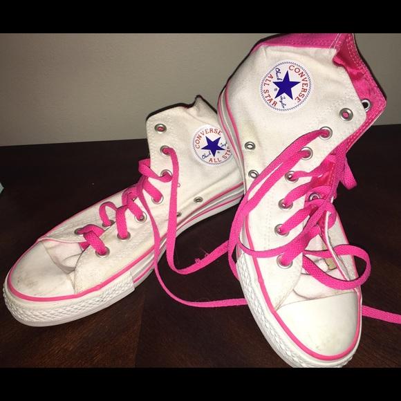 966b6556db77 Converse Shoes - White Hot Pink High Hi Top Converse Chuck Taylor