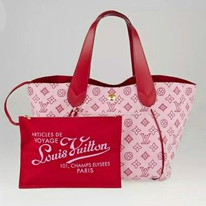 Rare Louis Vuitton Cabas Ipanema Tote in Red