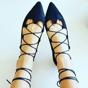 Shoes - Black lace tie up pointy toe flats NEW