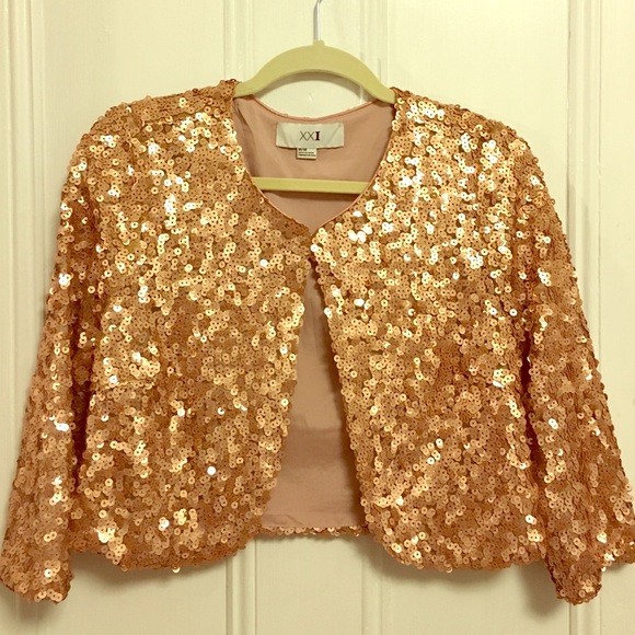088b454a418f2 Forever 21 Jackets   Blazers - Rose-gold sequined bolero