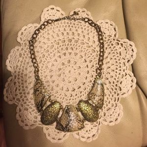 Neutral and gold snakeskin statement necklace