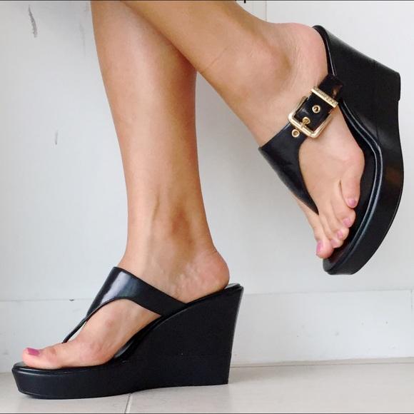 09bb5f38037 BCBGeneration Shoes - BCBG Black Thong Wedges