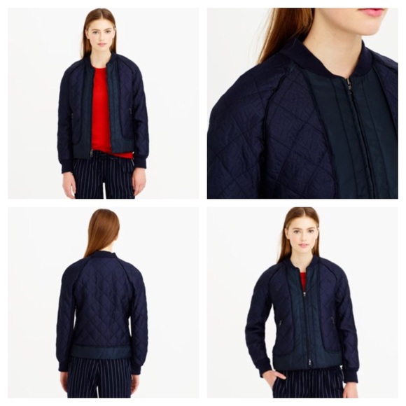 J Crew Jackets Blazers Blue Navy Geometric Quilted Bomber