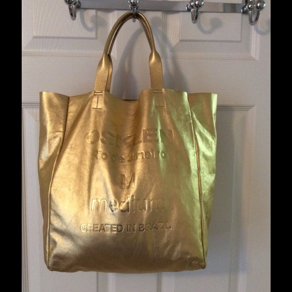 Osklen Bags Hp Rare Gold Large Leather Tote Bag Poshmark