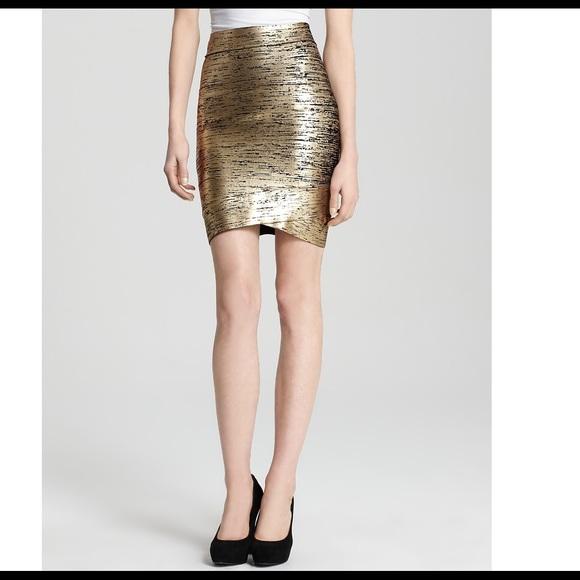 4e7a4ad976 BCBGMaxAzria Skirts | Bcbg Maxazria Silvie Gold Foil Bandage Skirt ...