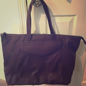Zara burgundy red wine tote trafaluc bag leather