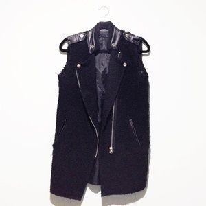 Jackets & Blazers - Shearling Vest w/ Leather Trim (Motorcycle Cut)