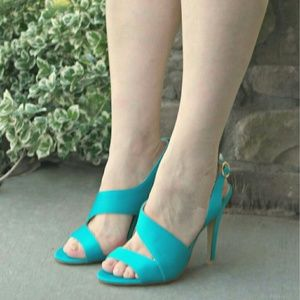 Shoedazzle Shoes - Gilda satin heels sandals in turquoise.