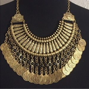 Jewelry - Black Bead Accented Long Token Coin Necklace