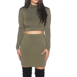 4e8141f3ab1 Dresses | Large Olive Pencil Skirt Turtleneck Crop Top Set | Poshmark