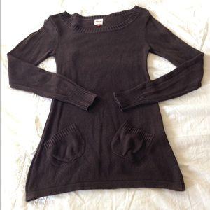 Dark brown long legging knit sweater Sz S Europe