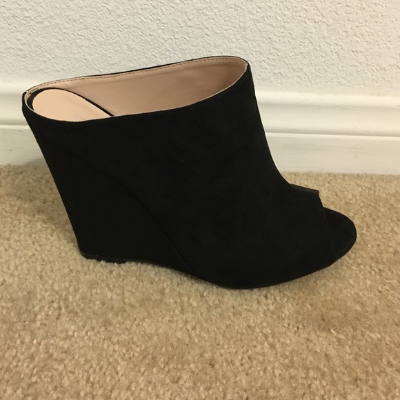 Wild Diva Shoes Black Suede Open Toe Wedge Mules Poshmark