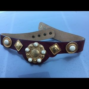 Unique Leather Maroon Belt Small