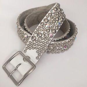 Accessories - White Leather Rhinestone Stud Belt