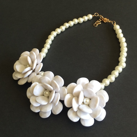 Boutique jewelry new pearl white flower statement necklace poshmark new pearl white flower statement necklace mightylinksfo