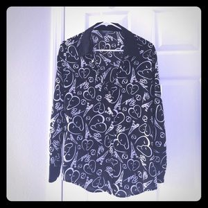 Catherine Malandrino button blouse, Paris print, M