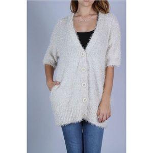Button Down Fuzzy Knit Cardigan