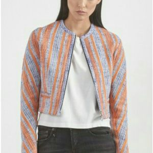Carven Jackets & Blazers - Carven tweed jacket collarless in orange and blue