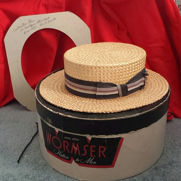Vintage 1920s Straw Boater Hat. M 5615788a2599fe3b47002501 9dea827d002c