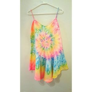 UNIF tie dye dress charmeuse nastygal
