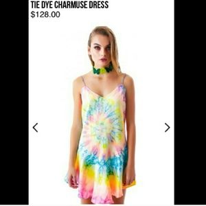 UNIF tie dye dress charmeuse nasty gal