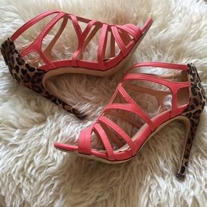 Shoes - Coral & Leopard Heels