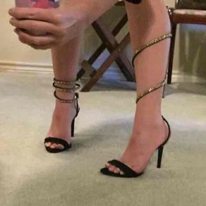 Schutz Monya Heels Ankle Wrap Black Gold Coil