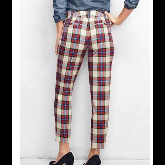 83% off Lands' End Pants - Lands' End Women's Plaid Tartan Slim ...