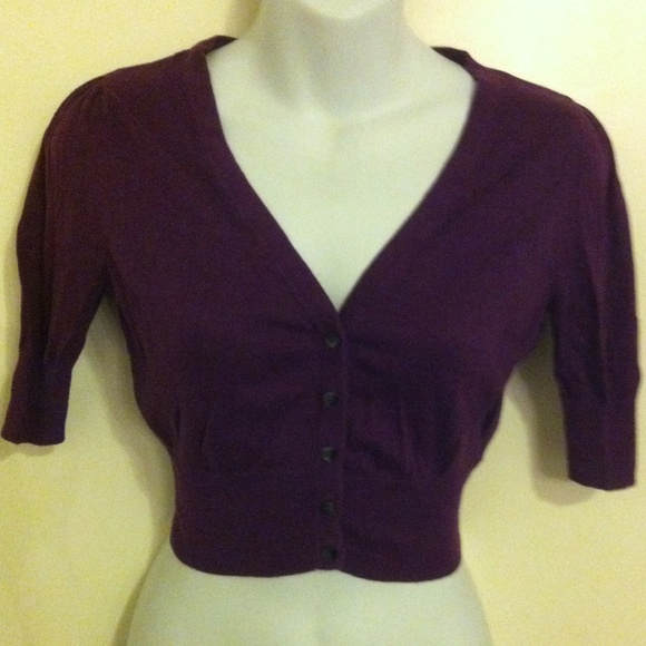 83% off Old Navy Sweaters - Old Navy XS purple 3/4 sleeve cardigan ...