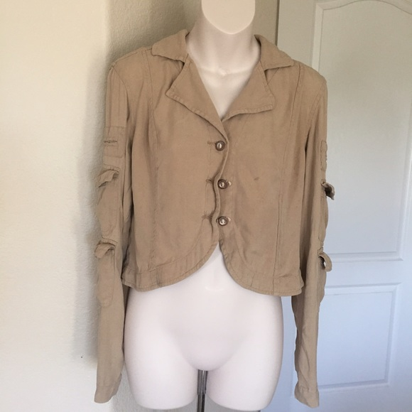 28d23d93ef10 Anthropologie Jackets   Blazers - ♧ DA-nang silk cropped cargo jacket small  tan