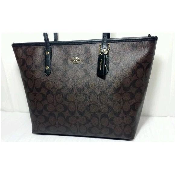 e710069804bc NEW Coach signature city zip tote bag