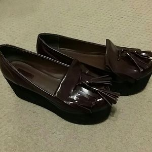 Topshop platform tassel loafers slip ons sz 9