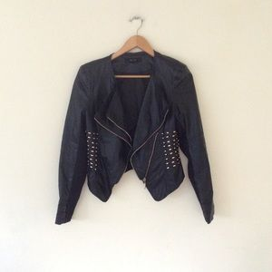 Forever 21 faux leather studded moto jacket S