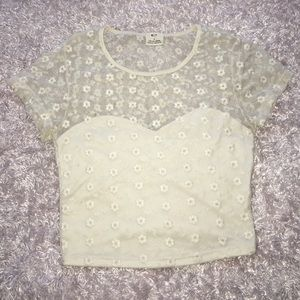 Urban Outfitters White Flower Crop Top