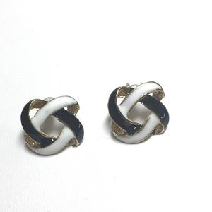 Black and white knot earrings