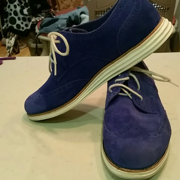 Cole Haan Womens Blue Suede Shoes