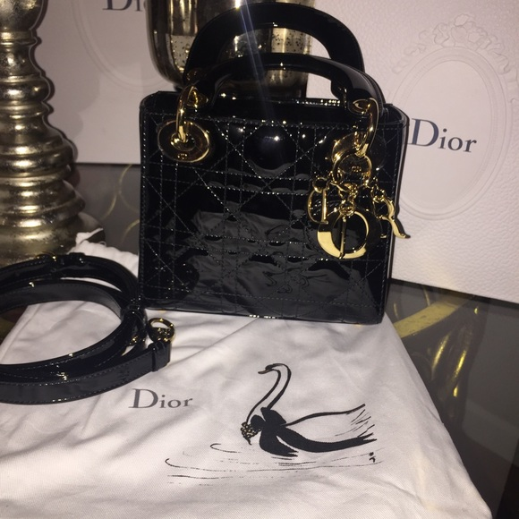28 off dior handbags lady dior mini in patent leather with brand new from mariel 39 s closet on. Black Bedroom Furniture Sets. Home Design Ideas