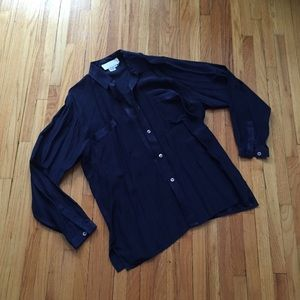 Tops - 100% Silk Navy Blouse