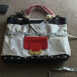 Black, white and red shoulder bag