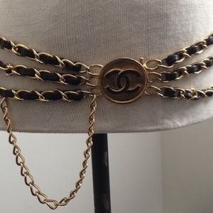 Gold tone chain leather belt