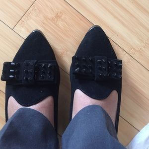 Modern Vice Shoes - Black Pointed Suede Flats w/ Spike Bow Detail