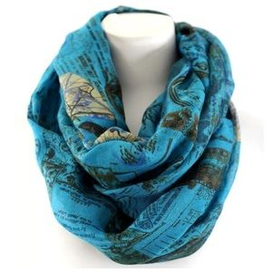 B138 Blue Vintage Passport Map Infinity Scarf